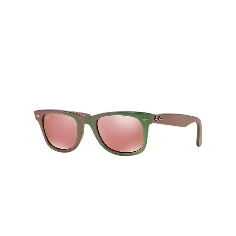 Ray-Ban Original Wayfarer Denim Brown Sunglasses, Pink Lenses - Rb2140 8053672495591