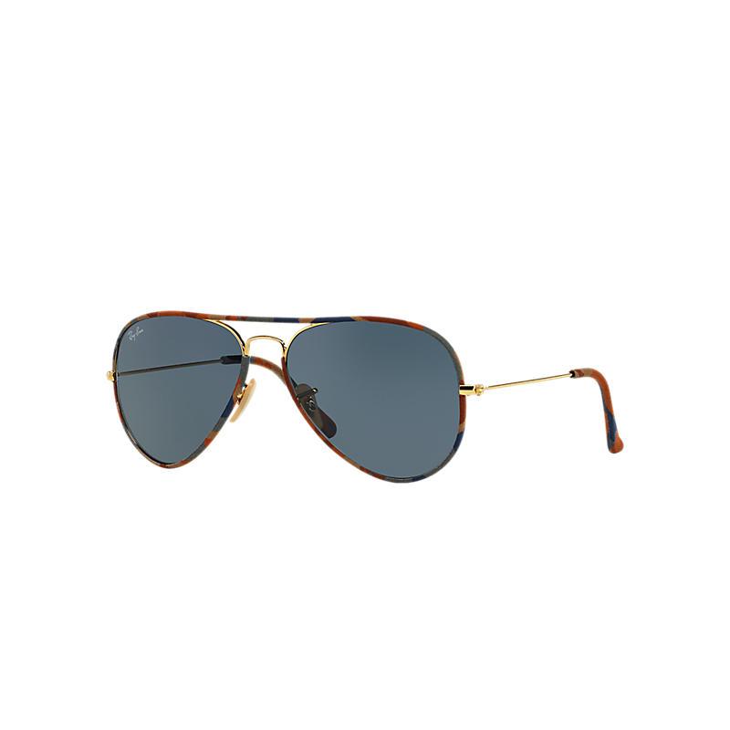Ray Ban Aviator full color Unisex Sunglasses Verres: Bleu, Monture: Or - RB3025JM 170/R5 58-14
