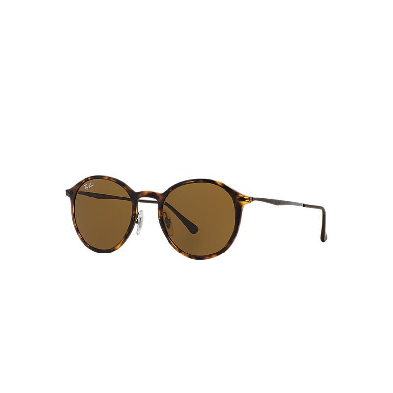 Ray-Ban Round Light Ray Gunmetal Sunglasses, Brown Lenses - Rb4224 8053672441208