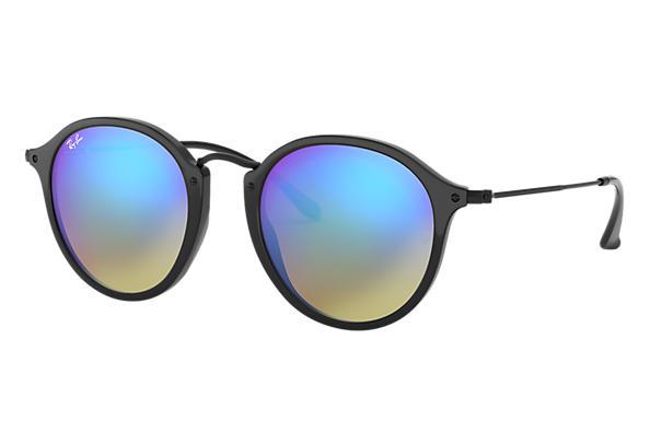 5e0a600fc4 Round Fleck Flash Lenses Gradient sunglasses Black Acetate