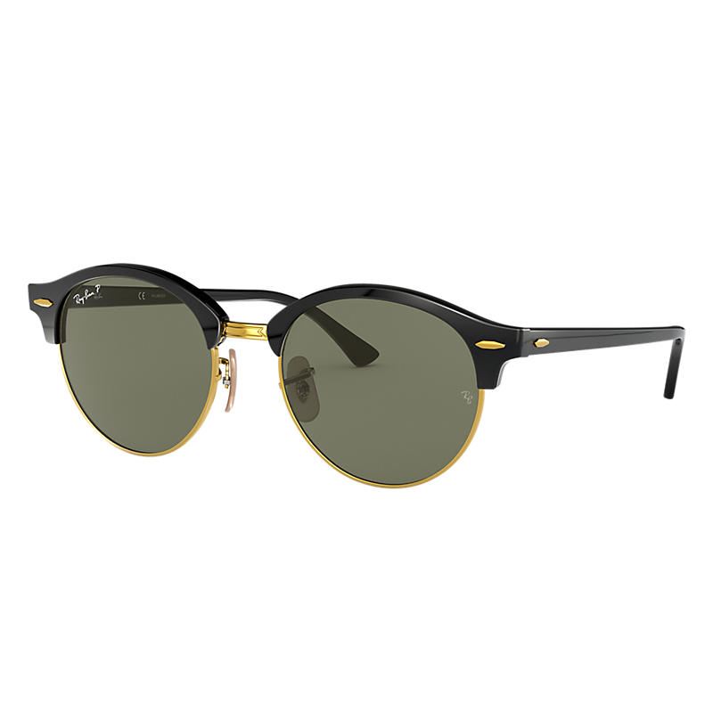Ray Ban Clubround classic Unisex Sunglasses Verres: Vert Polarisés, Monture: Noir - RB4246 901/58 51