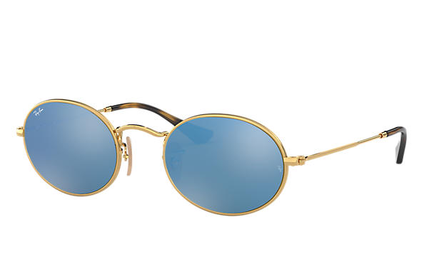 Ray Ban Oval Flat Lenses Rb3547n Gold Metal Light Blue