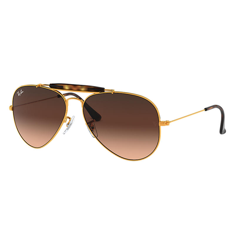 Ray Ban Outdoorsman ii Homme Sunglasses Verres: Rose, Monture: Bronze-cuivre - RB3029 9001A5 62-14