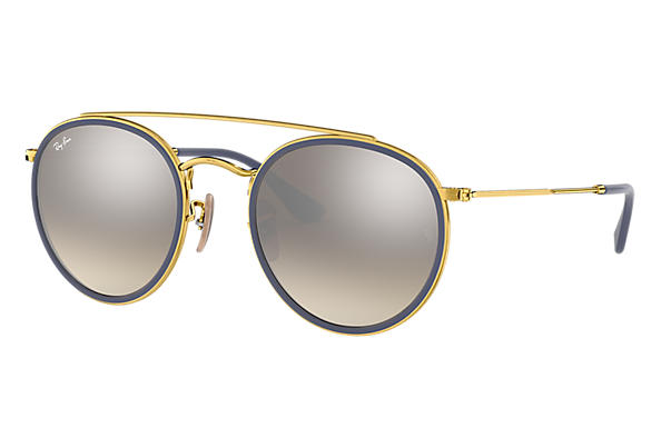 ray ban round double bridge rb3647n gold metal silver lenses 0rb3647n001 9u51 ray ban usa. Black Bedroom Furniture Sets. Home Design Ideas