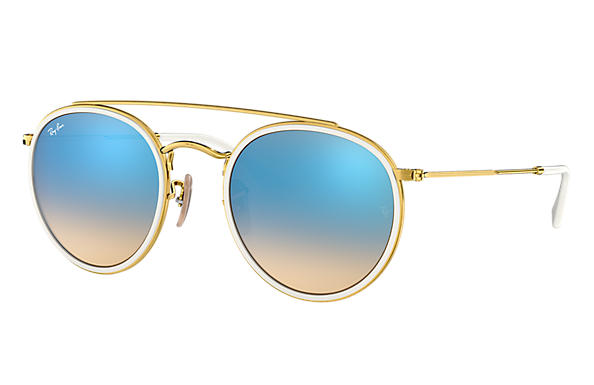 Ray Ban Round Double Bridge Rb3647n Gold Metal Blue