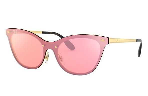 ray ban blaze cat eye rb3580n gold steel pink lenses. Black Bedroom Furniture Sets. Home Design Ideas