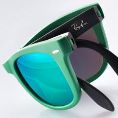 ray-ban wayfarer folding flash lenses green