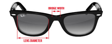 ef7396e95cf1 Frame size. The front measurement includes the diameter of the lens and the  width of the bridge measured in millimetres and usually separated by a  small ...