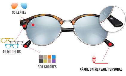 lentes ray ban  personaliza tus ray ban. crea unas gafas de sol genuinas y perfectas para ti elige el color y el tipo de lente y, además, a?ade tu mensaje personal