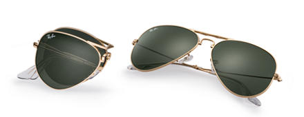 Ray-Ban AVIATOR FOLDING Gold with Green Classic G-15 lens