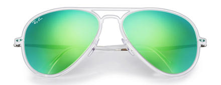 Ray-Ban AVIATOR LIGHT RAY II Transparent with Green Mirror lens