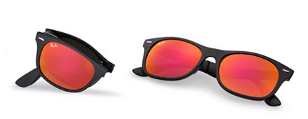 Ray-Ban New Wayfarer Folding Liteforce Svart med Röd Spegel lins