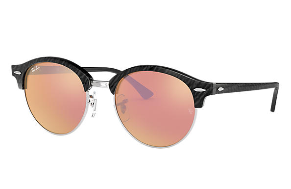 Ray-Ban 0RB4246-CLUBROUND FLASH LENSES Black,Silver; Black SUN