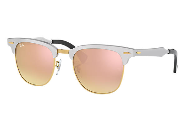 Ray-Ban 0RB3507-CLUBMASTER ALUMINUM FLASH LENSES GRADIENT Silver SUN