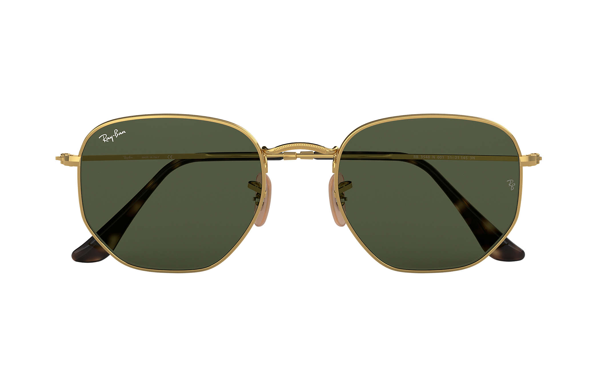f405dc13796 ... buy ray ban 0rb3548n hexagonal flat lenses gold sun 81137 d5dba