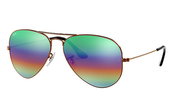 Ray-Ban 0RB3025-AVIATOR MINERAL FLASH LENSES Brązowo-miedziany SUN