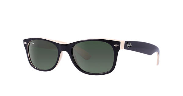 e58ff9ac83 Ray-Ban New Wayfarer Color Mix RB2132 Black - Nylon - Green Lenses -  0RB213287552
