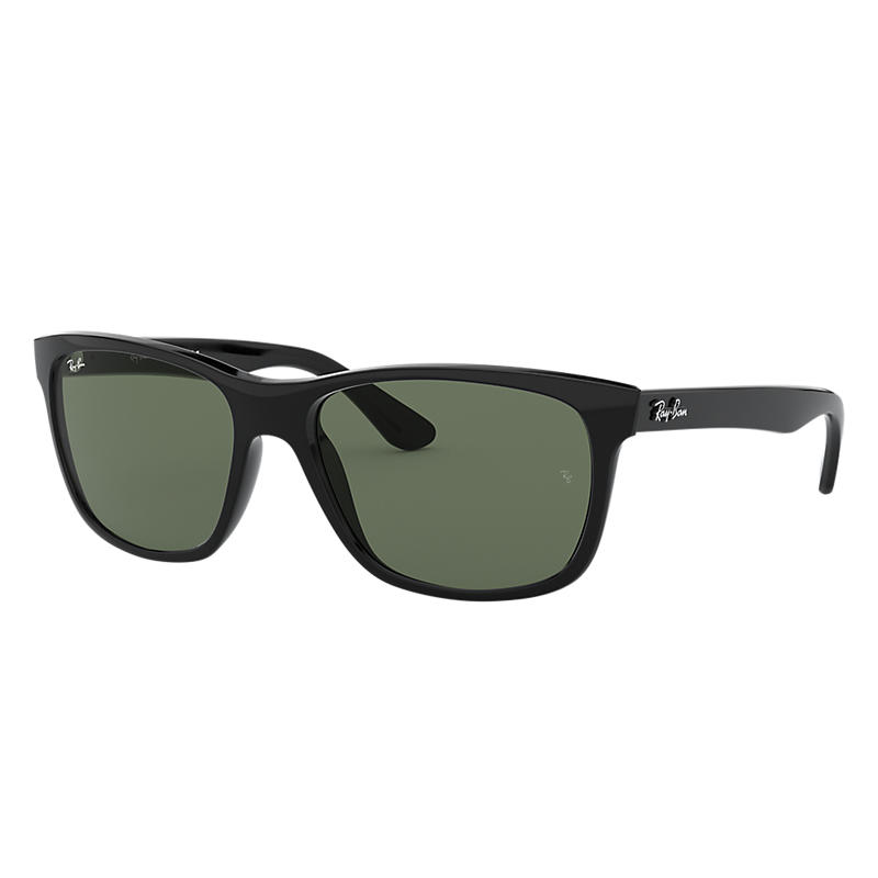 Ray-Ban Black Sunglasses, Green Lenses - Rb4181