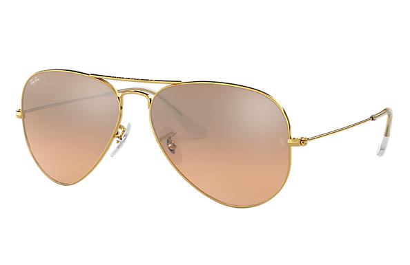 0511a5d8a06be Ray-Ban Aviator Gradiente RB3025L Ouro - Metal - Lentes Prata Rosa ...