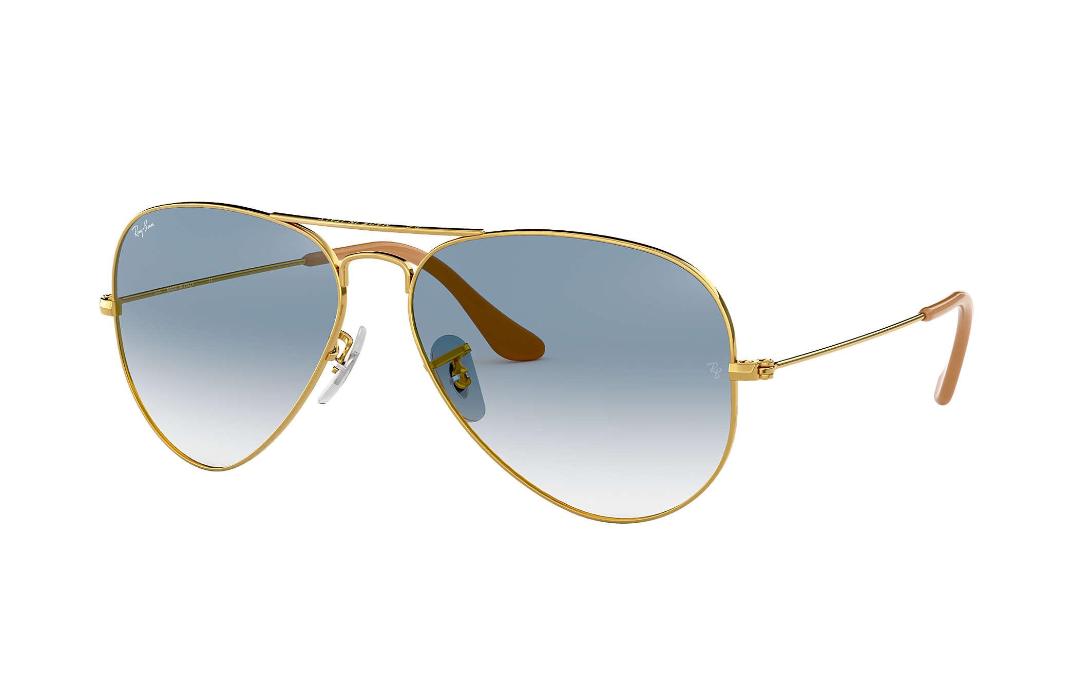 Ray-Ban Aviator Gradiente RB3025L Ouro - Metal - Lentes Azulclaro ... 769a148741