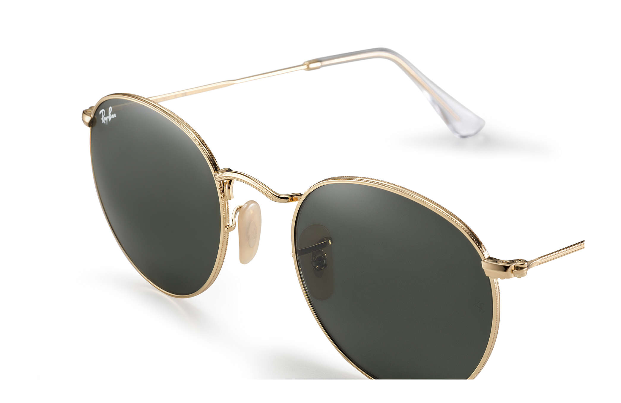 Ray-Ban Round Metal RB3447L Ouro - Metal - Lentes Verde ... 33ed92a633