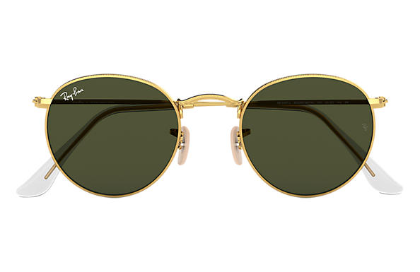 b0c3177faecd8 Ray-Ban Round Metal RB3447L Ouro - Metal - Lentes Verde ...