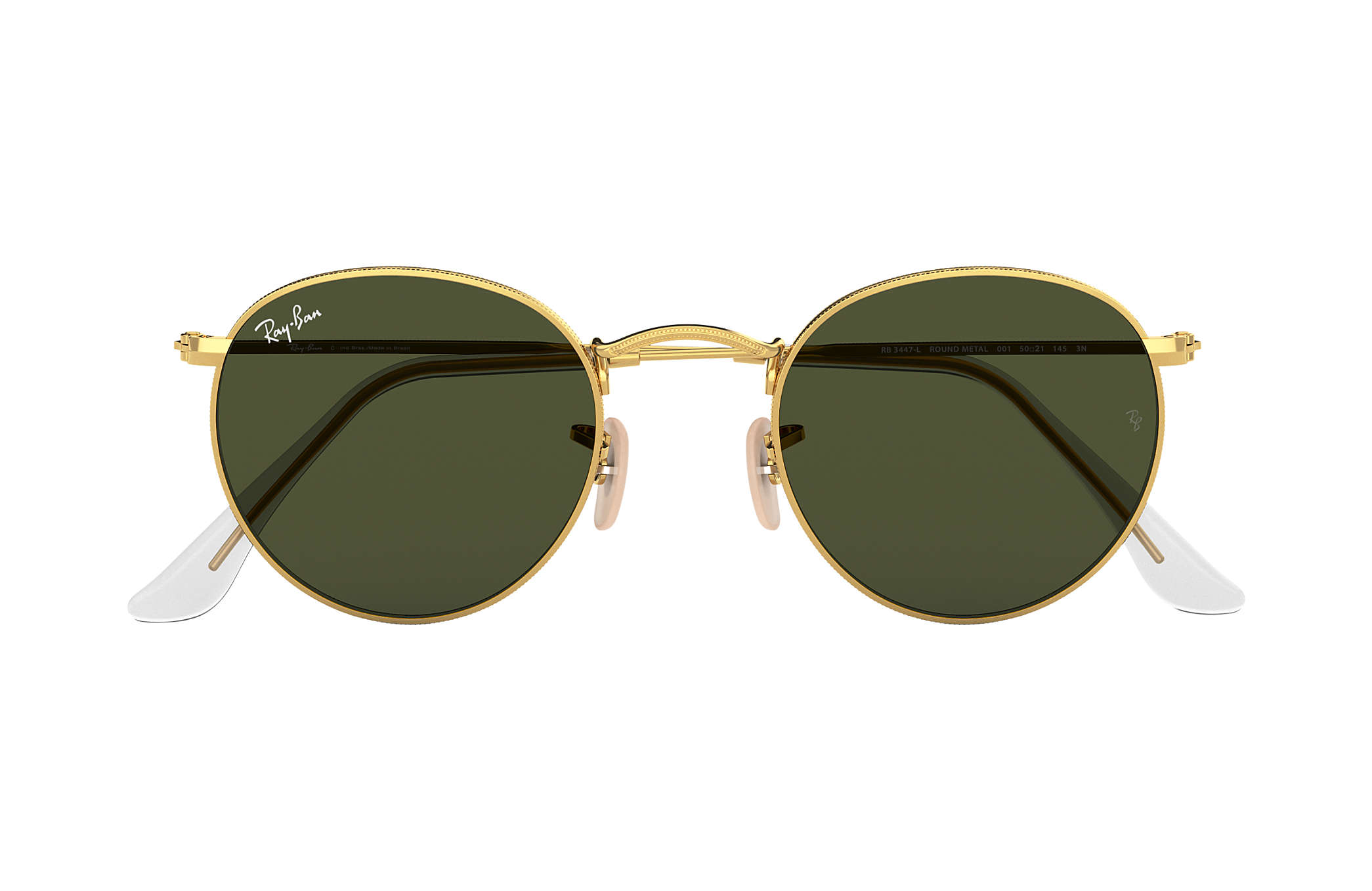 Ray-Ban Round Metal RB3447L Ouro - Metal - Lentes Verde ... 1c91bc82a4f33