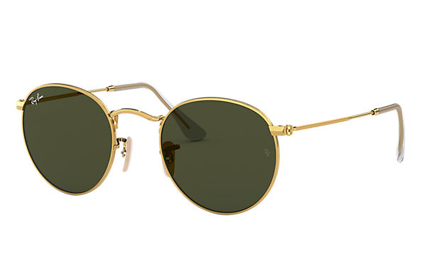 abdcaf498b294 Ray-Ban Round Metal RB3447L Ouro - Metal - Lentes Verde ...