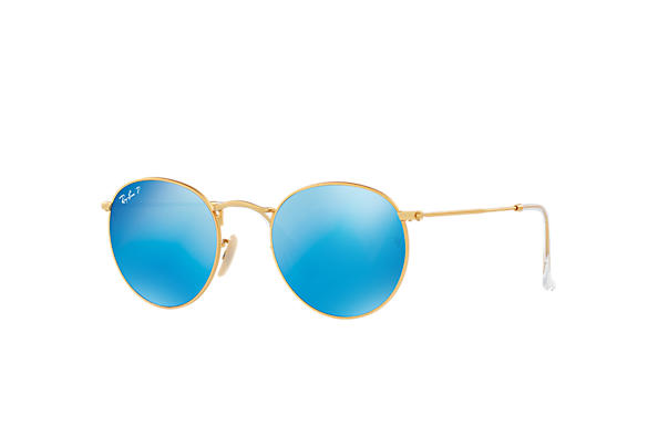 Ray-Ban 0RB3447L-ROUND FLASH LENSES Ouro SUN