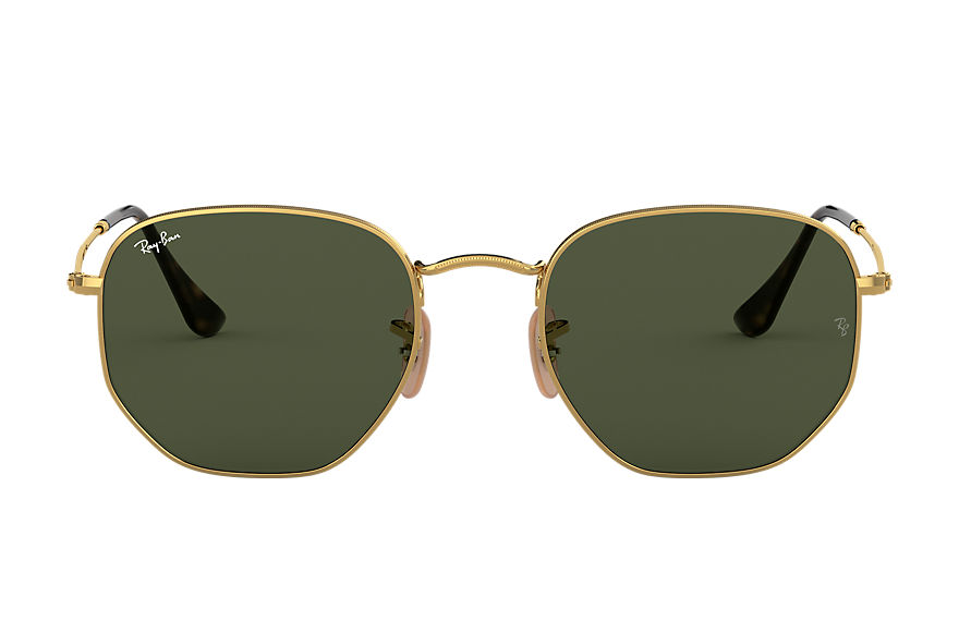 Ray-Ban  oculos de sol RB3548NL MALE 001 hexagonal flat lenses ouro 7895653150782