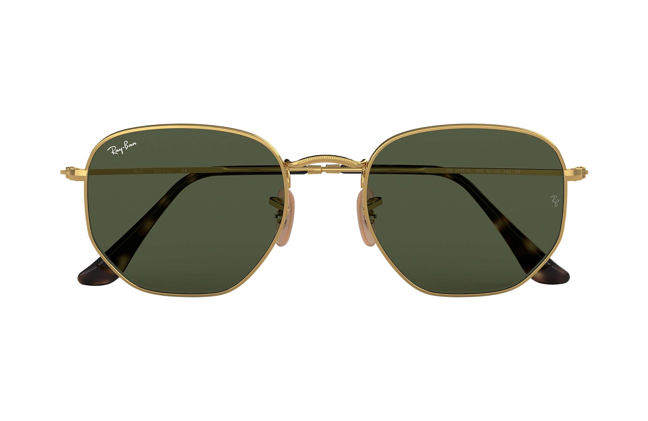 4f2a997732b96 Ray-Ban Hexagonal Flat Lenses RB3548NL Ouro - Metal - Lentes Verde ...
