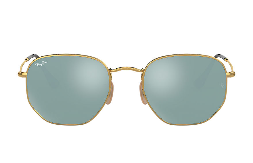 Ray-Ban  oculos de sol RB3548NL MALE 004 hexagonal flat lenses ouro 7895653150805