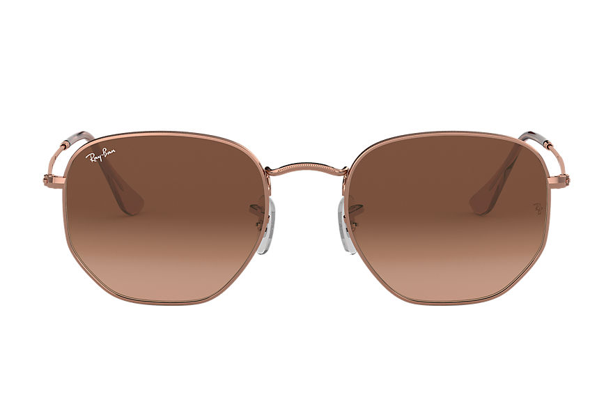 Ray-Ban  oculos de sol RB3548NL MALE 010 hexagonal flat lenses bronze acobreado 7895653185074