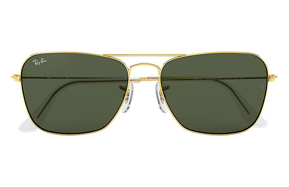 Ray-Ban Caravan RB3136 Gold - Metal - Green Lenses - 0RB313600155 ... 67fe96cf72