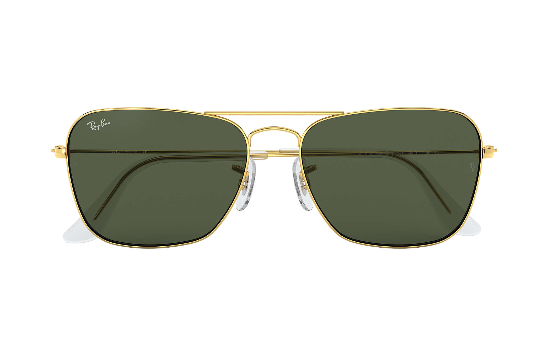75c0ae7b15 Ray-Ban Caravan RB3136 Gold - Metal - Green Lenses - 0RB313600155 ...