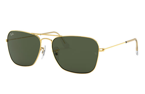 Ray-Ban Sunglasses CARAVAN Gold with Green Classic G-15 lens