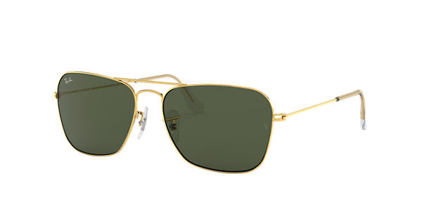 99467f05548 Ray-Ban Caravan RB3136 Gold - Metal - Green Lenses - 0RB313600155 ...