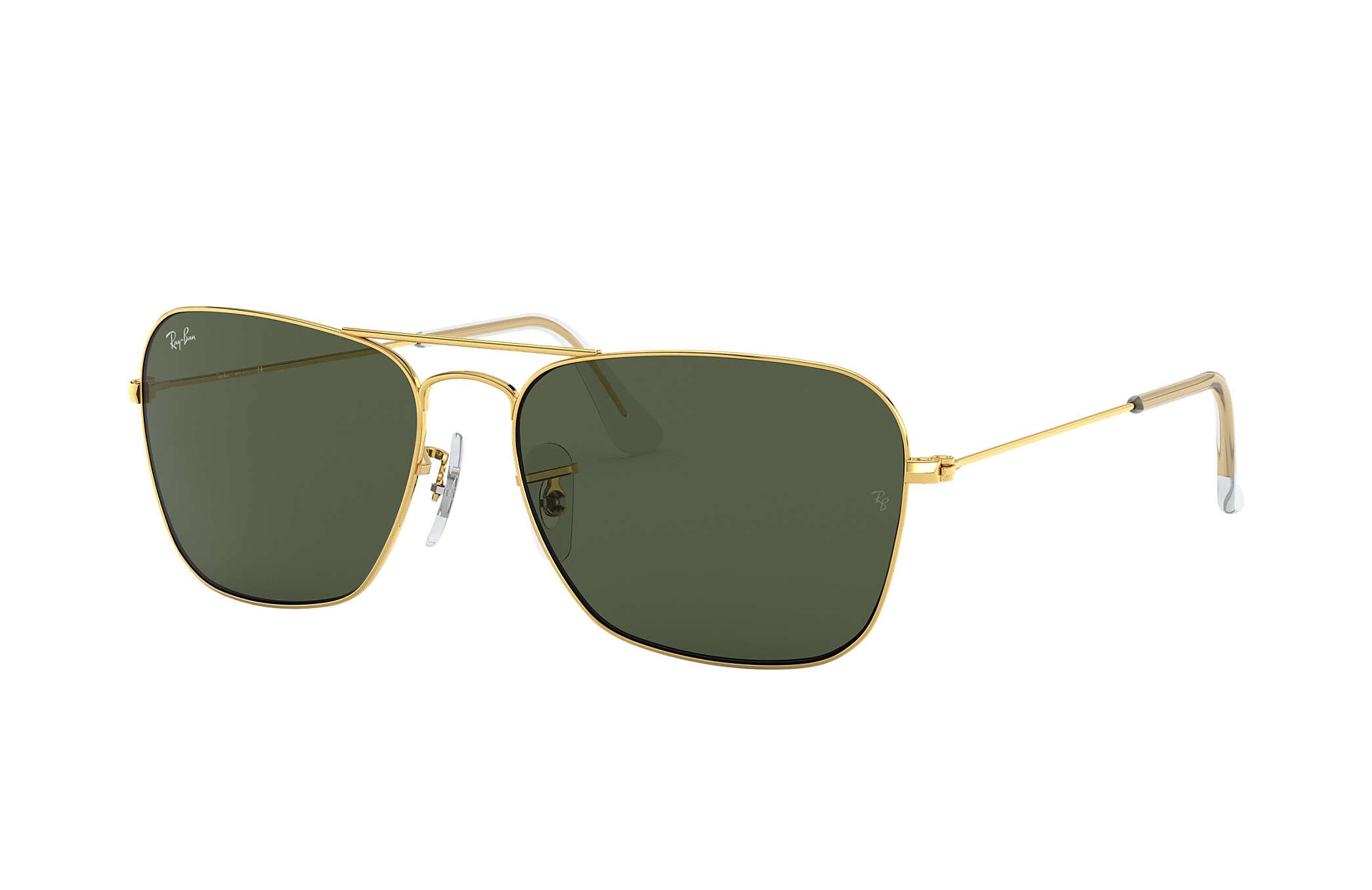 Ray-Ban Caravan RB3136 Gold - Metal - Green Lenses - 0RB313600155 ... 67fe96cf72