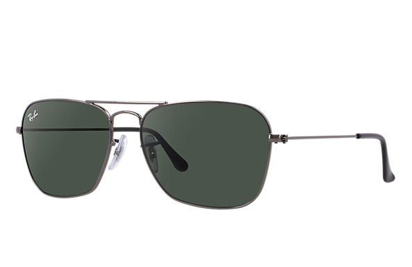 ce2a440349b Ray-Ban Caravan RB3136 Gunmetal - Metal - Green Lenses ...