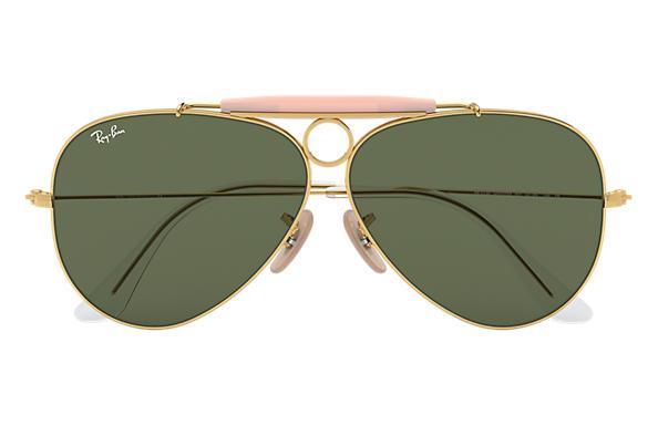 804b206ec1 Ray-Ban Shooter RB3138 Gold - Metal - Green Lenses - 0RB313800158 ...