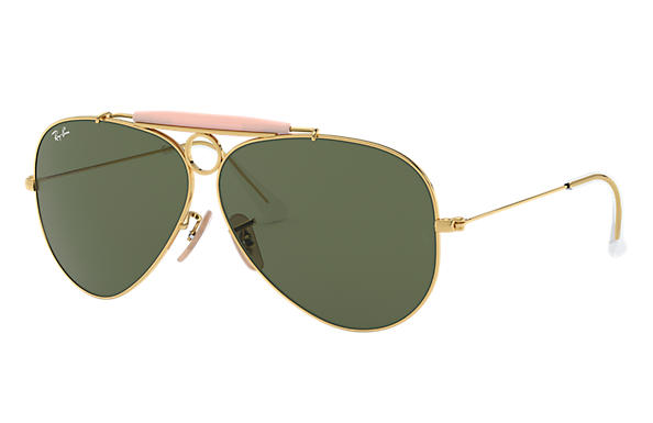 Ray-Ban Sunglasses SHOOTER Gold with Green Classic G-15 lens