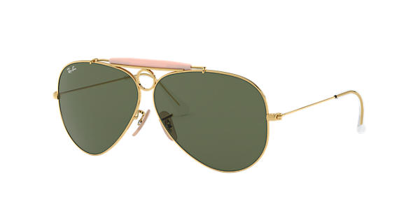 28212da33f6 Ray-Ban Shooter RB3138 Gold - Metal - Green Lenses - 0RB313800158 ...