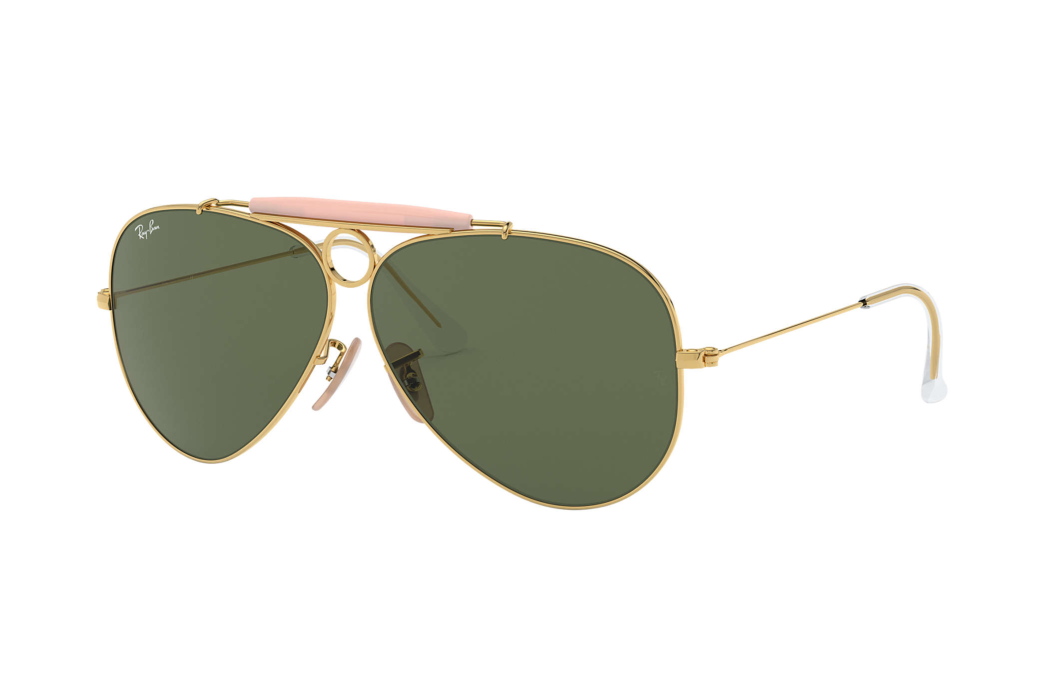 Ray-Ban Shooter RB3138 Gold - Metal - Green Lenses - 0RB313800158 ... edb3db91ae