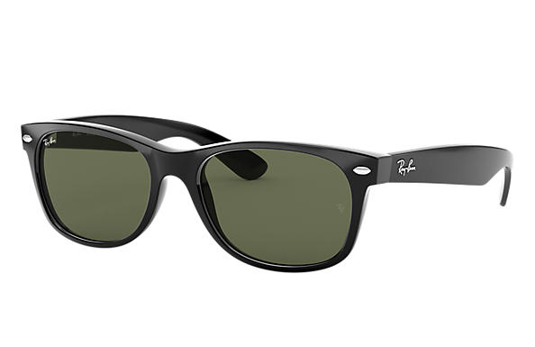 Ray-Ban Sunglasses NEW WAYFARER CLASSIC Gloss Black with Green Classic G-15 lens