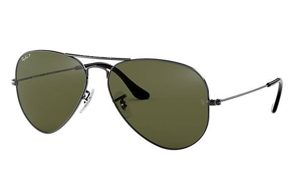 6943ce01daeb2 Ray-Ban Aviator Classic RB3025 Gunmetal - Metal - Green Polarized ...