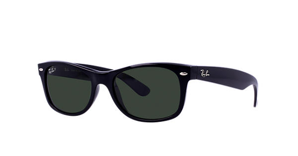 af059f74f7 Ray-Ban New Wayfarer Classic RB2132 Black - Nylon - Green Polarized Lenses  - 0RB2132901 5852