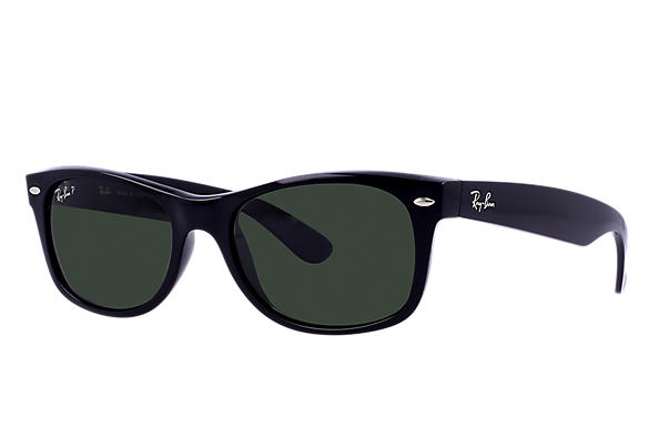 2d6fe7187ce5 Ray-Ban New Wayfarer Classic RB2132 Black - Nylon - Green Polarized ...