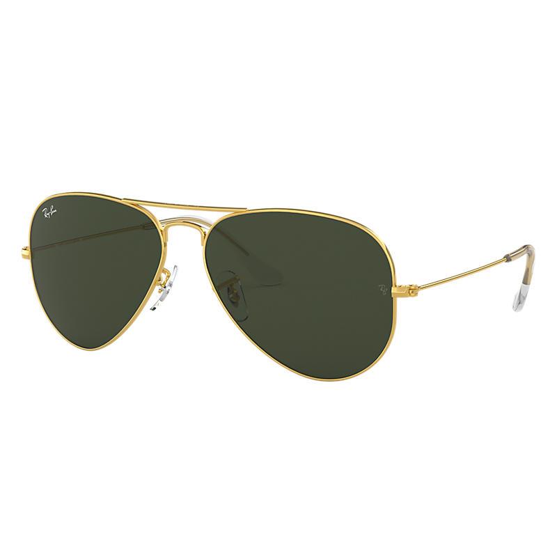 Ray Ban Aviator Classic Gold Sunglasses, Green Lenses Rb3025