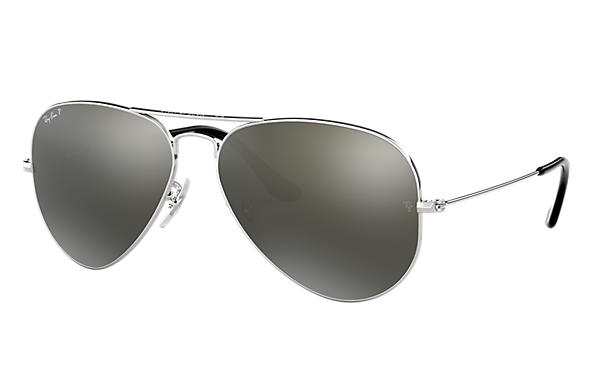 Ray-Ban Sunglasses AVIATOR CLASSIC Silver with Grey Mirror lens
