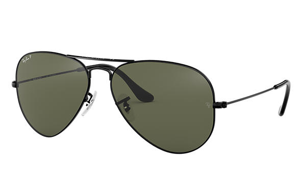 3b0431ad69b11 Ray-Ban Aviator Classic RB3025 Black - Metal - Green Polarized ...